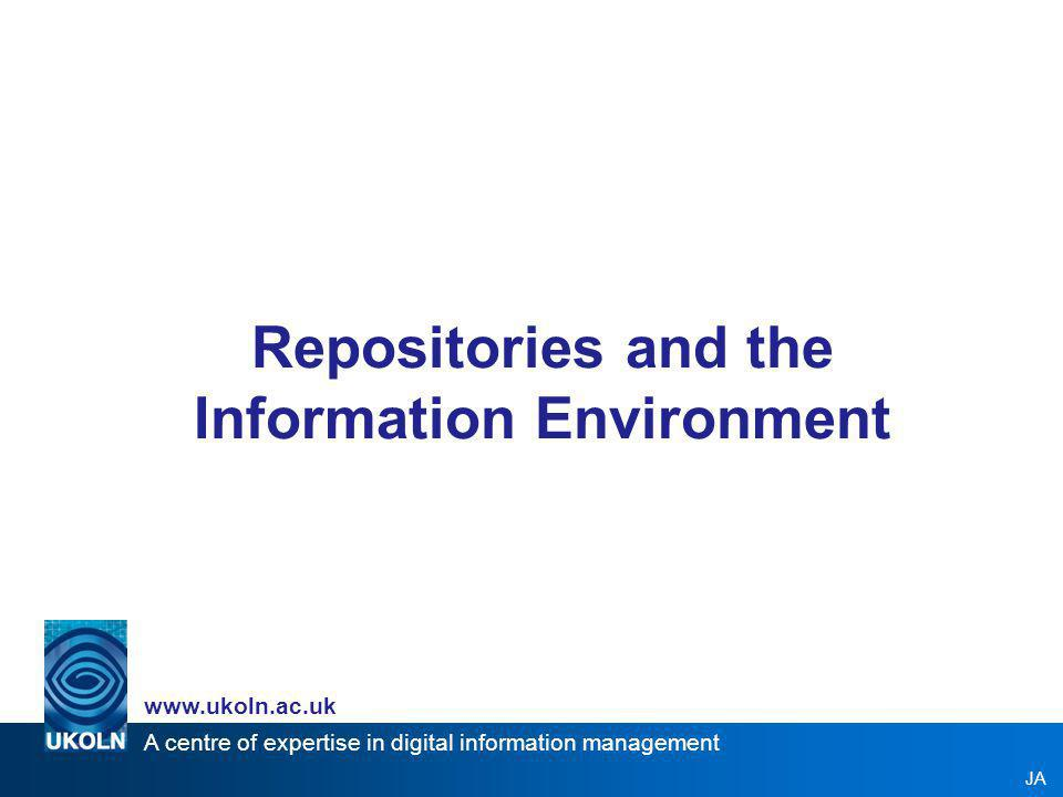 A centre of expertise in digital information management www.ukoln.ac.uk Flickr Content: Images Coverage: International; community-based; personal Function: sharing and re-use Community / Domain: Anyone / Public Centralised Part open access, part access controlled http://www.flickr.com/ Flickr API –Allows innovative re-use of Flickr data, e.g.