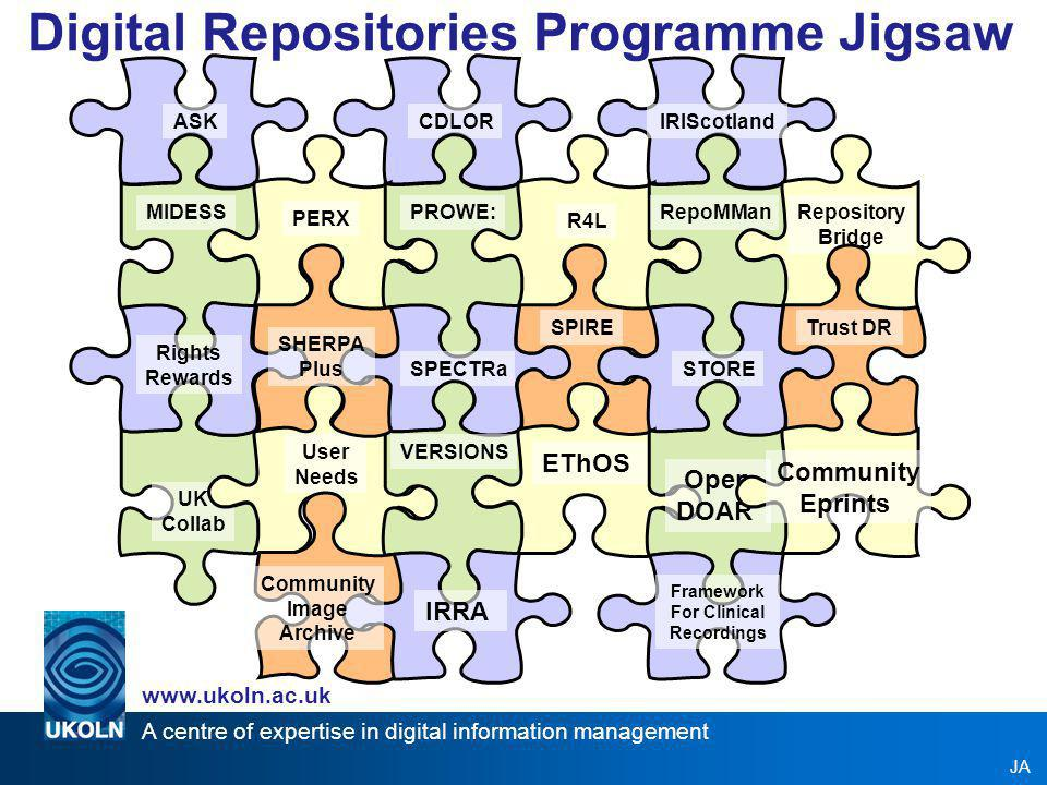 A centre of expertise in digital information management www.ukoln.ac.uk JISC Digital Repositories Programme.