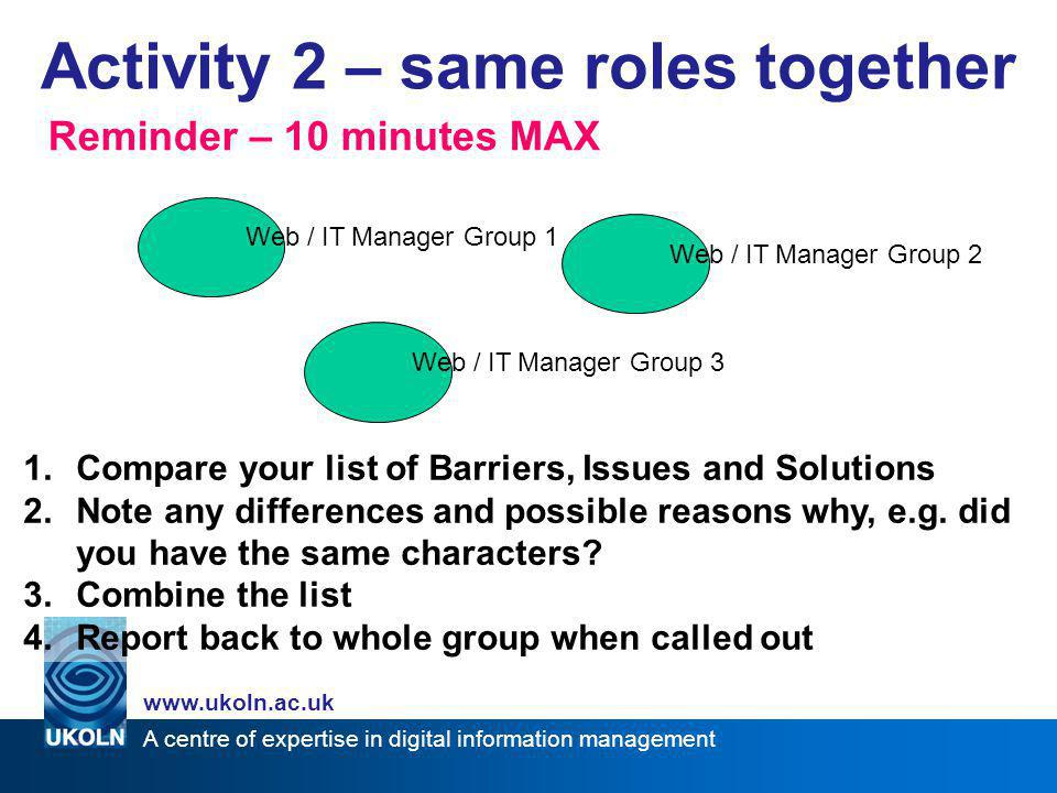 A centre of expertise in digital information management www.ukoln.ac.uk Activity 2 – same roles together Get together with person(s) of same role Tell each other the character that you chose, was it the same one.