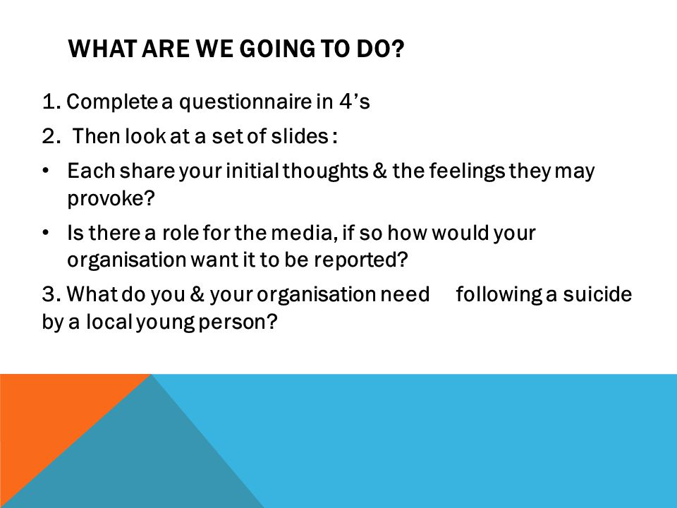 WHAT ARE WE GOING TO DO? 1. Complete a questionnaire in 4's 2. Then look at a set of slides : Each share your initial thoughts & the feelings they may