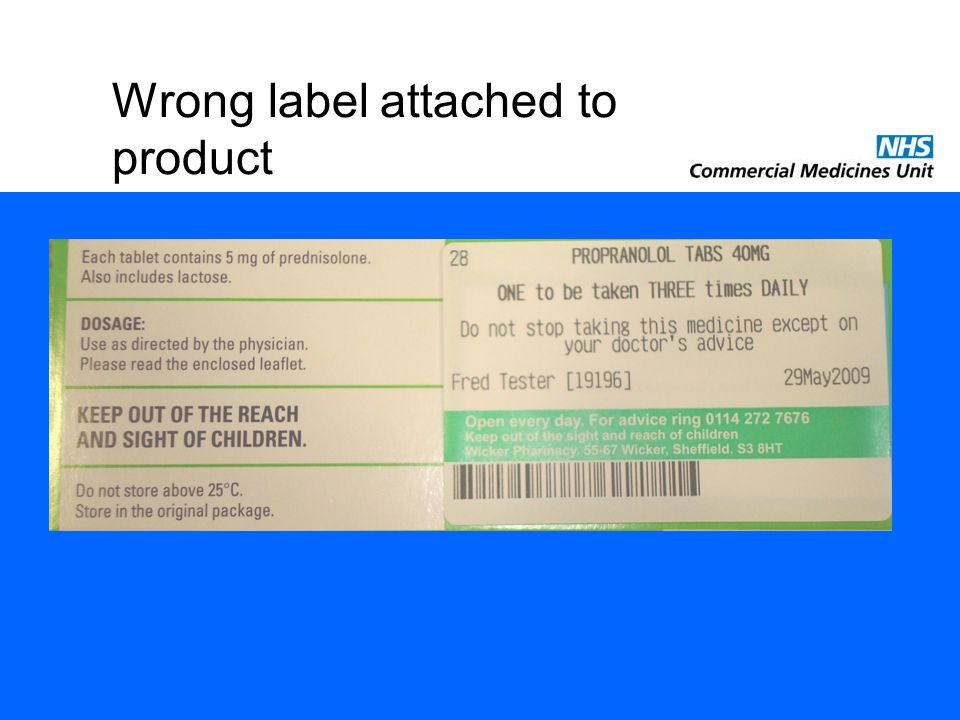 Wrong label attached to product