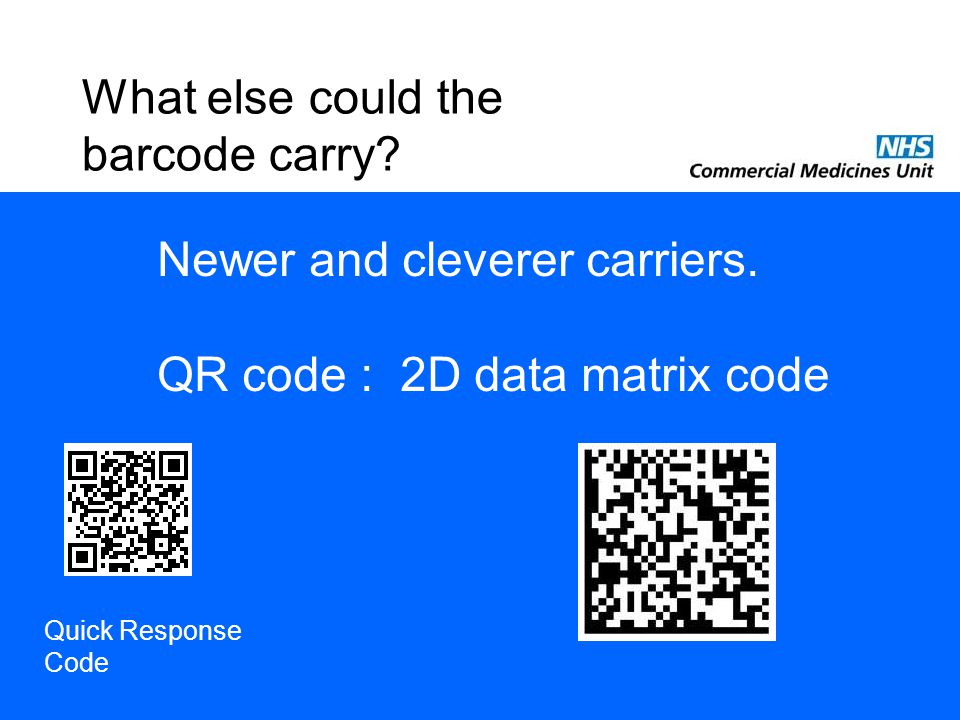 What else could the barcode carry. Newer and cleverer carriers.