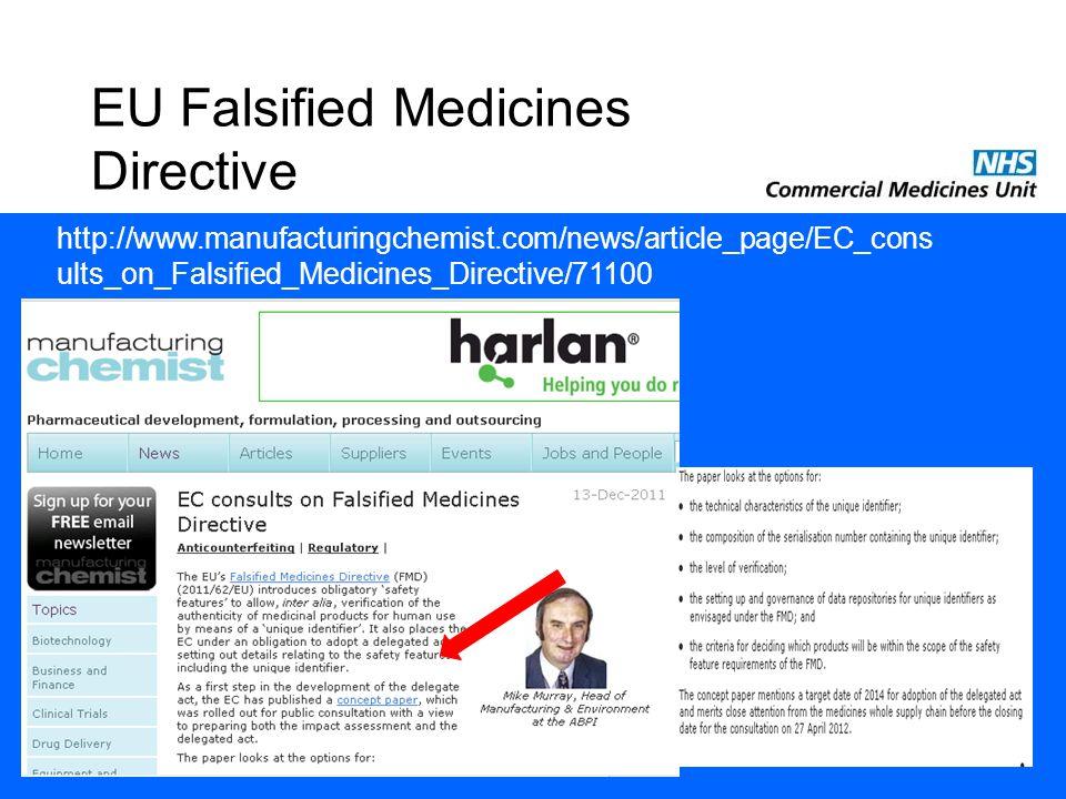 EU Falsified Medicines Directive http://www.manufacturingchemist.com/news/article_page/EC_cons ults_on_Falsified_Medicines_Directive/71100