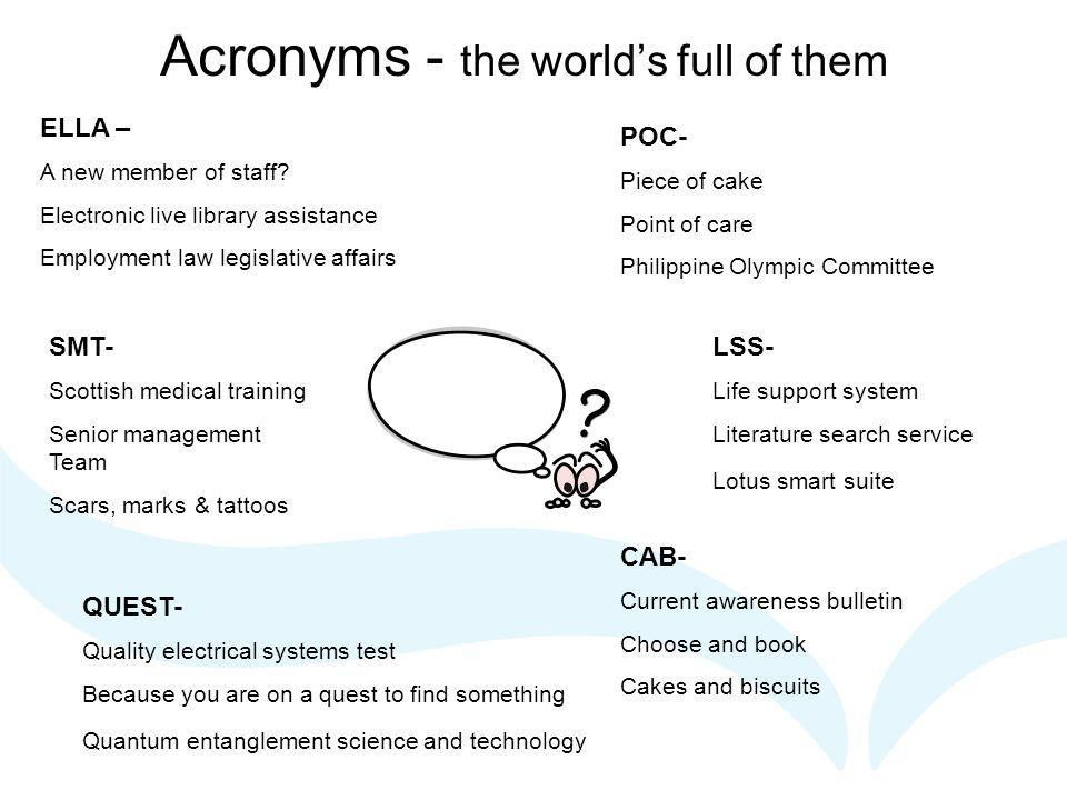 Acronyms - the world's full of them ELLA – A new member of staff.