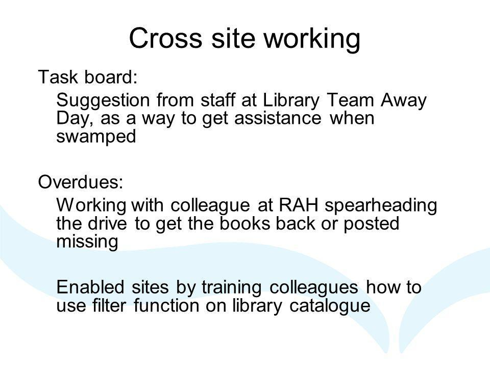 Cross site working Task board: Suggestion from staff at Library Team Away Day, as a way to get assistance when swamped Overdues: Working with colleague at RAH spearheading the drive to get the books back or posted missing Enabled sites by training colleagues how to use filter function on library catalogue