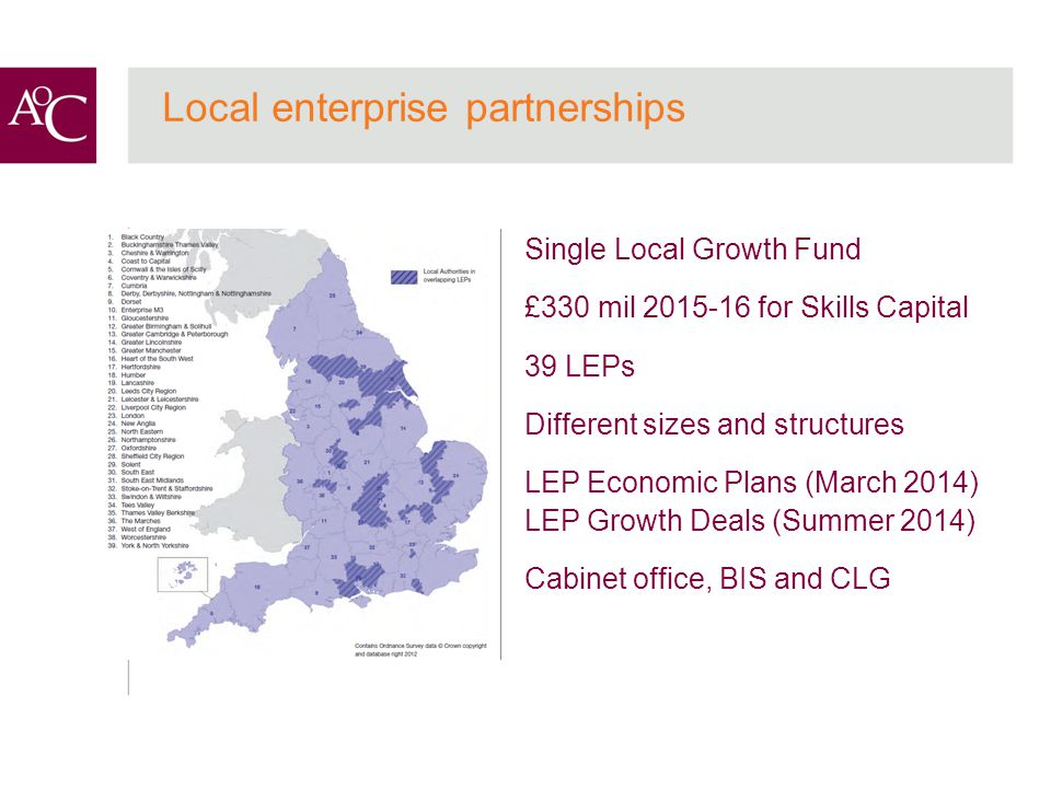 Single Local Growth Fund £330 mil 2015-16 for Skills Capital 39 LEPs Different sizes and structures LEP Economic Plans (March 2014) LEP Growth Deals (Summer 2014) Cabinet office, BIS and CLG Local enterprise partnerships