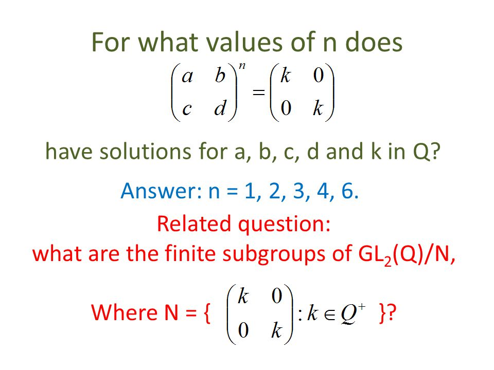 For what values of n does have solutions for a, b, c, d and k in Q.