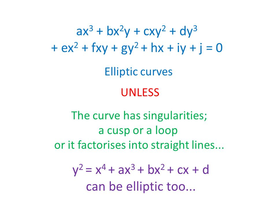 ax 3 + bx 2 y + cxy 2 + dy 3 + ex 2 + fxy + gy 2 + hx + iy + j = 0 Elliptic curves UNLESS The curve has singularities; a cusp or a loop or it factorises into straight lines...