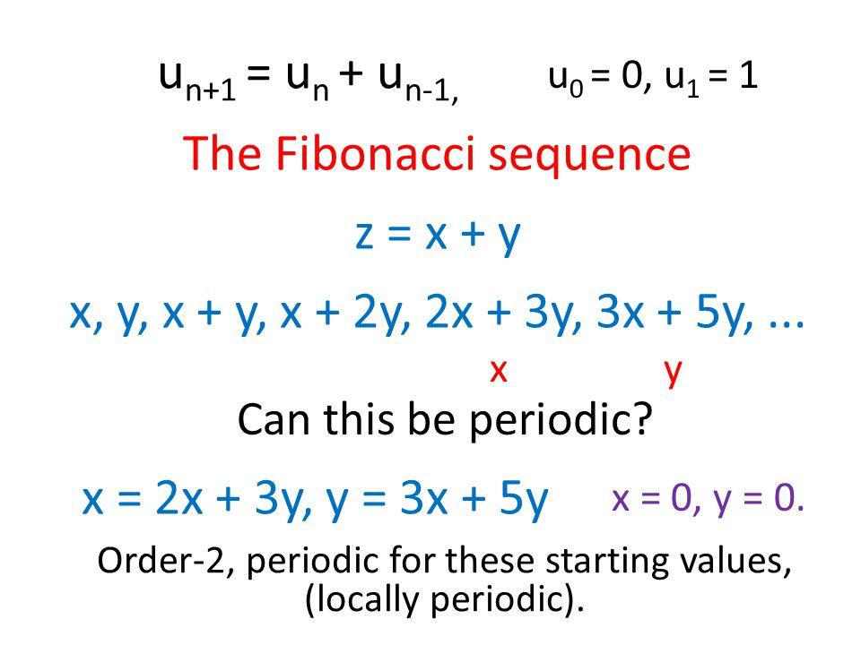 u n+1 = u n + u n-1, The Fibonacci sequence z = x + y u 0 = 0, u 1 = 1 x, y, x + y, x + 2y, 2x + 3y, 3x + 5y,...