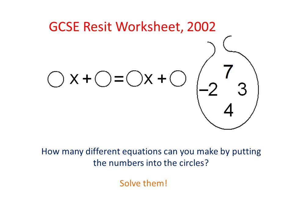 GCSE Resit Worksheet, 2002 How many different equations can you make by putting the numbers into the circles.
