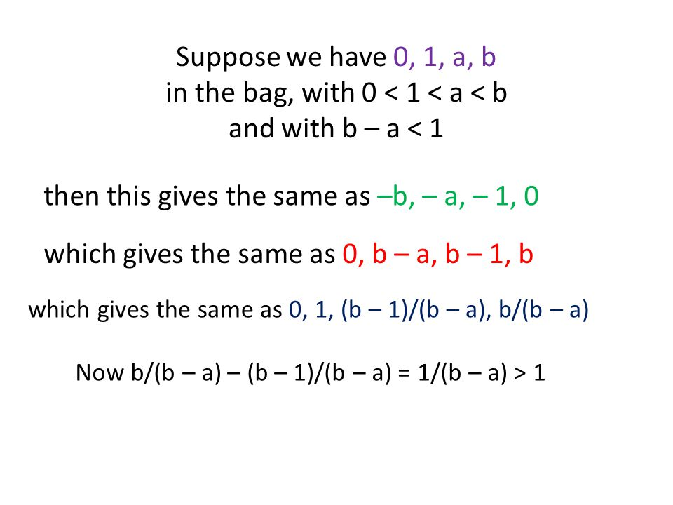 Suppose we have 0, 1, a, b in the bag, with 0 < 1 < a < b and with b – a < 1 then this gives the same as –b, – a, – 1, 0 which gives the same as 0, b – a, b – 1, b which gives the same as 0, 1, (b – 1)/(b – a), b/(b – a) Now b/(b – a) – (b – 1)/(b – a) = 1/(b – a) > 1