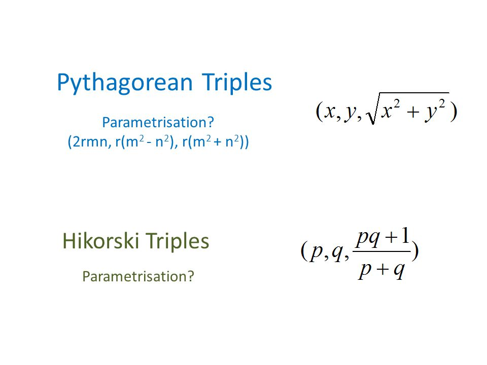 Pythagorean Triples Parametrisation.