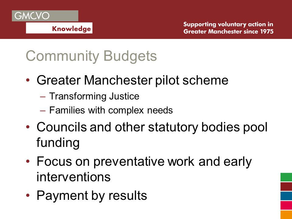 Community Budgets Greater Manchester pilot scheme –Transforming Justice –Families with complex needs Councils and other statutory bodies pool funding Focus on preventative work and early interventions Payment by results