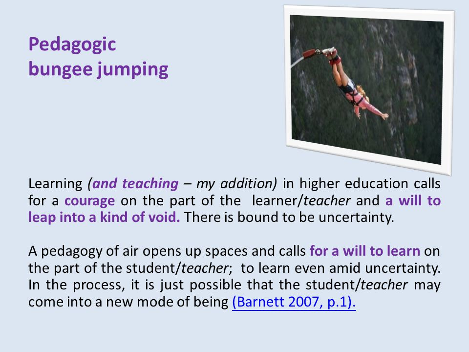 Pedagogic bungee jumping Learning (and teaching – my addition) in higher education calls for a courage on the part of the learner/teacher and a will to leap into a kind of void.
