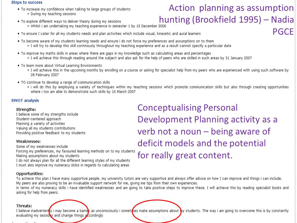 Action planning as assumption hunting (Brookfield 1995) – Nadia PGCE Conceptualising Personal Development Planning activity as a verb not a noun – being aware of deficit models and the potential for really great content.