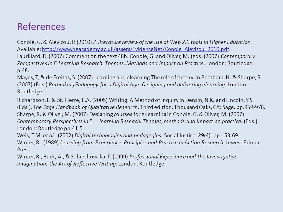 References Conole, G. & Alevizou, P.