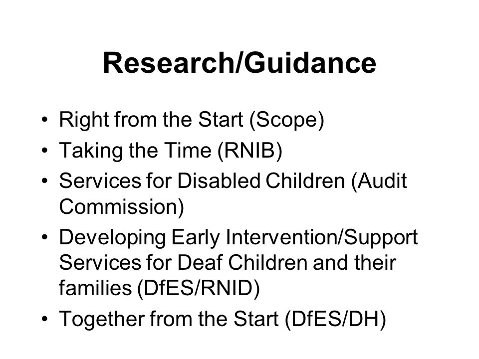 Policy Every Child Matters Removing Barriers to Achievement National Service Framework for Children Improving the Life Chances of Disabled People