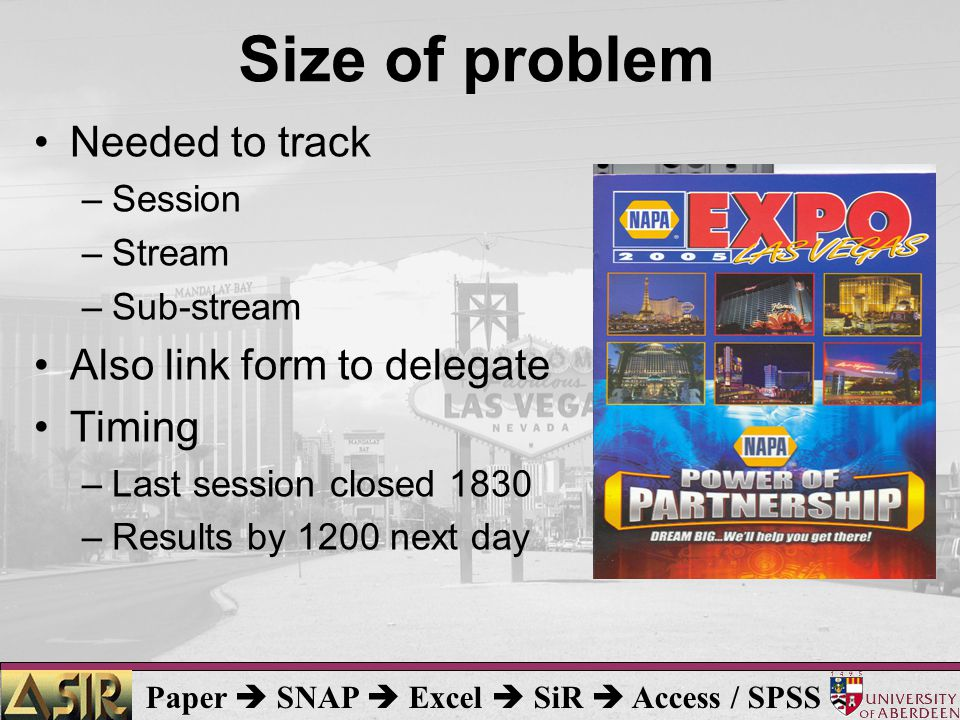 Paper  SNAP  Excel  SiR  Access / SPSS Size of problem Needed to track –Session –Stream –Sub-stream Also link form to delegate Timing –Last session closed 1830 –Results by 1200 next day