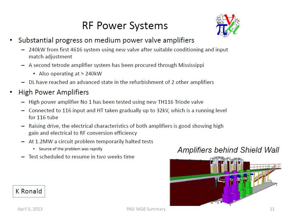 K Ronald April 5, 2013PASI WG6 Summary11