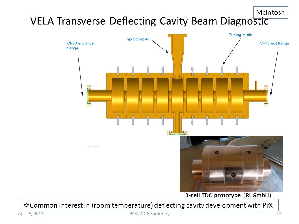 VELA Transverse Deflecting Cavity Beam Diagnostic 3-cell TDC prototype (RI GmbH)  Common interest in (room temperature) deflecting cavity development with PrX McIntosh April 5, 2013PASI WG6 Summary30