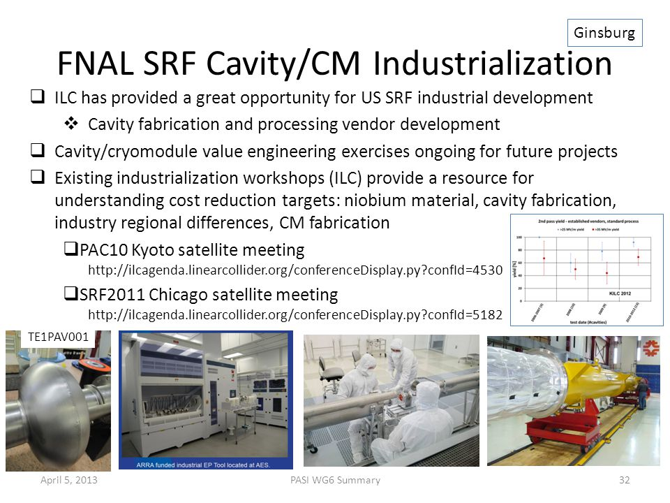 FNAL SRF Cavity/CM Industrialization  ILC has provided a great opportunity for US SRF industrial development  Cavity fabrication and processing vend