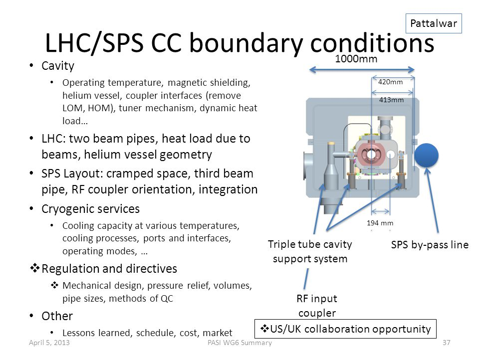 LHC/SPS CC boundary conditions Cavity Operating temperature, magnetic shielding, helium vessel, coupler interfaces (remove LOM, HOM), tuner mechanism, dynamic heat load… LHC: two beam pipes, heat load due to beams, helium vessel geometry SPS Layout: cramped space, third beam pipe, RF coupler orientation, integration Cryogenic services Cooling capacity at various temperatures, cooling processes, ports and interfaces, operating modes, …  Regulation and directives  Mechanical design, pressure relief, volumes, pipe sizes, methods of QC Other Lessons learned, schedule, cost, market April 5, 2013PASI WG6 Summary37 1000mm 413mm 420mm 194 mm RF input coupler SPS by-pass line Pattalwar Triple tube cavity support system  US/UK collaboration opportunity