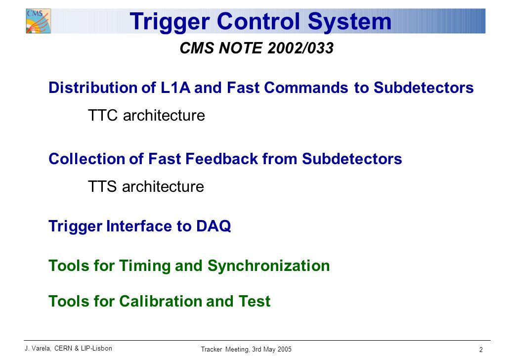J. Varela, CERN & LIP-Lisbon Tracker Meeting, 3rd May 2005 13 Central Trigger Control