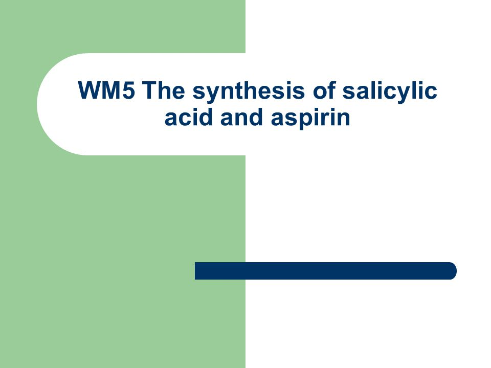WM5 The synthesis of salicylic acid and aspirin