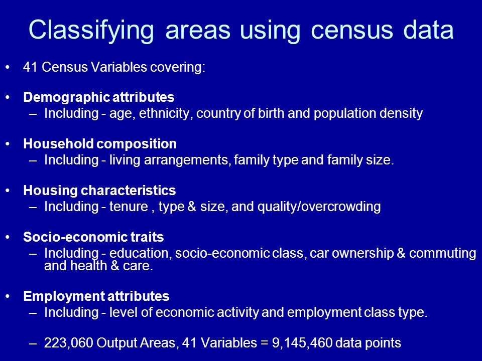 Classifying areas using census data 41 Census Variables covering: Demographic attributes –Including - age, ethnicity, country of birth and population