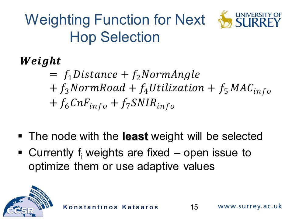Weighting Function for Next Hop Selection Konstantinos Katsaros 15