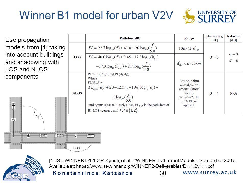 Winner B1 model for urban V2V Konstantinos Katsaros 30 [1] IST-WINNER D1.1.2 P.