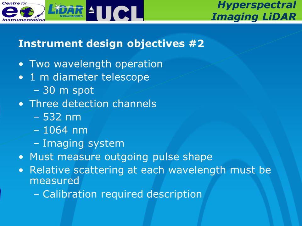 Hyperspectral Imaging LiDAR Instrument design objectives #2 Two wavelength operation 1 m diameter telescope –30 m spot Three detection channels –532 n