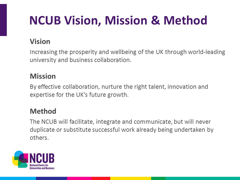 NCUB Vision, Mission & Method Vision Increasing the prosperity and wellbeing of the UK through world-leading university and business collaboration. Mi