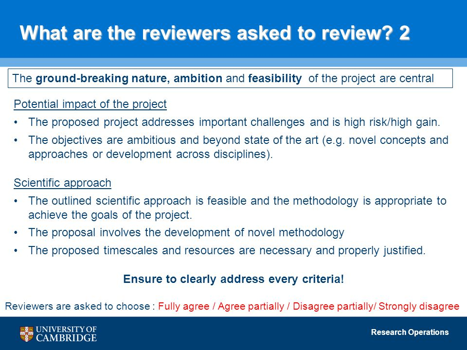 Research Operations What are the reviewers asked to review.