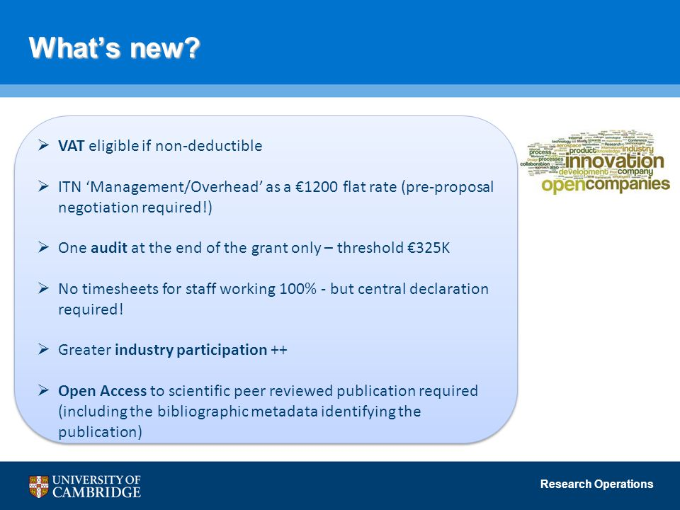 Research Operations What's new?  VAT eligible if non-deductible  ITN 'Management/Overhead' as a €1200 flat rate (pre-proposal negotiation required!)