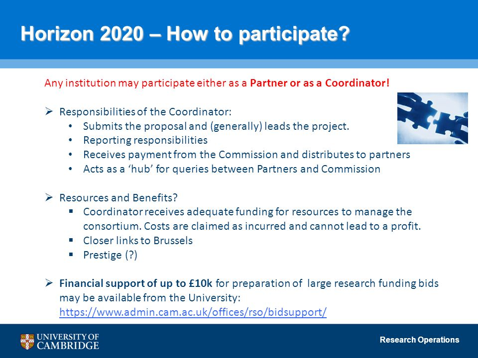 Research Operations Horizon 2020 – How to participate? Any institution may participate either as a Partner or as a Coordinator!  Responsibilities of