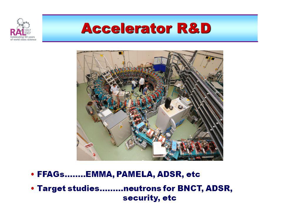 Accelerator R&D FFAGs........EMMA, PAMELA, ADSR, etc Target studies.........neutrons for BNCT, ADSR, security, etc