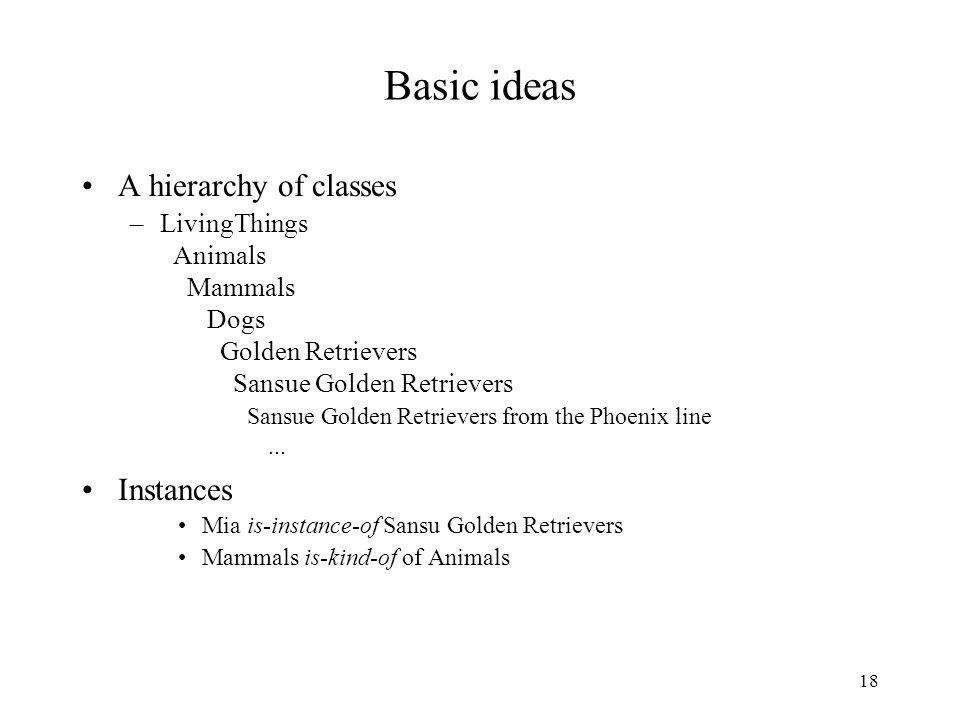 18 Basic ideas A hierarchy of classes –LivingThings Animals Mammals Dogs Golden Retrievers Sansue Golden Retrievers Sansue Golden Retrievers from the Phoenix line...