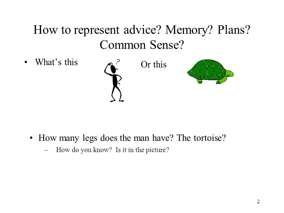 2 How to represent advice.Memory. Plans. Common Sense.