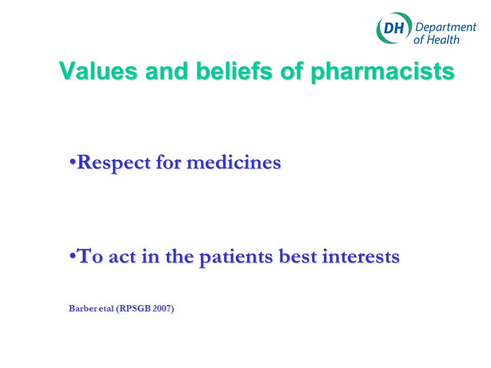 Values and beliefs of pharmacists Respect for medicinesRespect for medicines To act in the patients best interestsTo act in the patients best interest