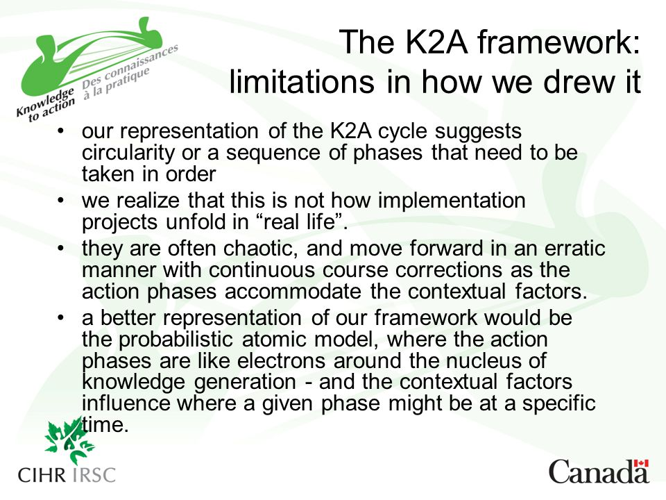 The K2A framework: limitations in how we drew it our representation of the K2A cycle suggests circularity or a sequence of phases that need to be take
