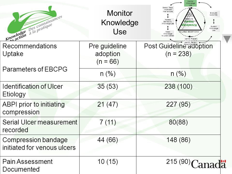 Monitor Knowledge Use Recommendations Uptake Parameters of EBCPG Pre guideline adoption (n = 66) Post Guideline adoption (n = 238) n (%) Identificatio