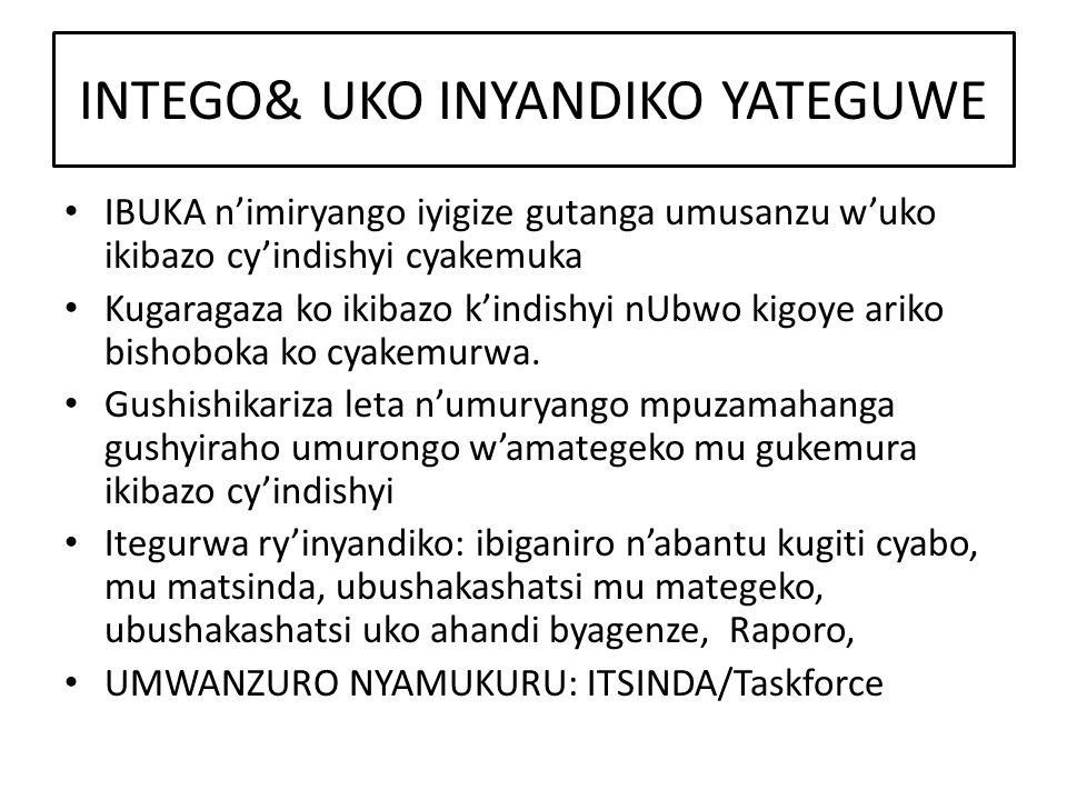 INTEGO& UKO INYANDIKO YATEGUWE IBUKA n'imiryango iyigize gutanga umusanzu w'uko ikibazo cy'indishyi cyakemuka Kugaragaza ko ikibazo k'indishyi nUbwo kigoye ariko bishoboka ko cyakemurwa.