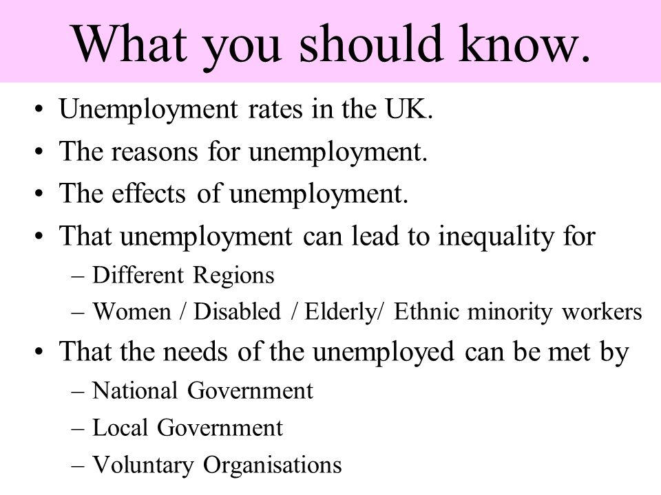 What you should know. Unemployment rates in the UK. The reasons for unemployment. The effects of unemployment. That unemployment can lead to inequalit