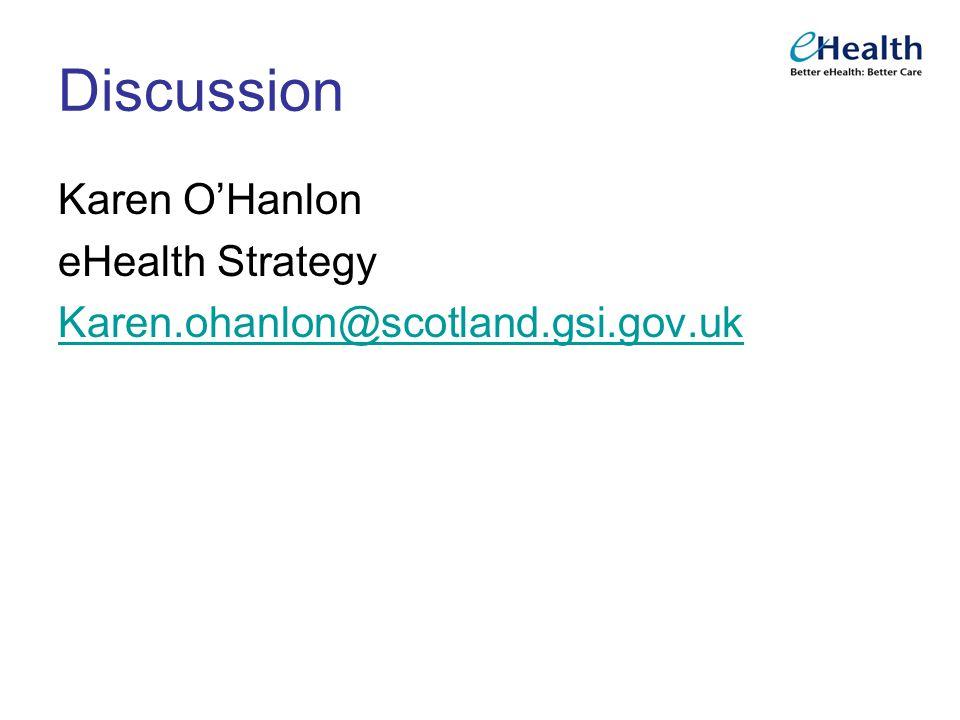 Discussion Karen O'Hanlon eHealth Strategy Karen.ohanlon@scotland.gsi.gov.uk