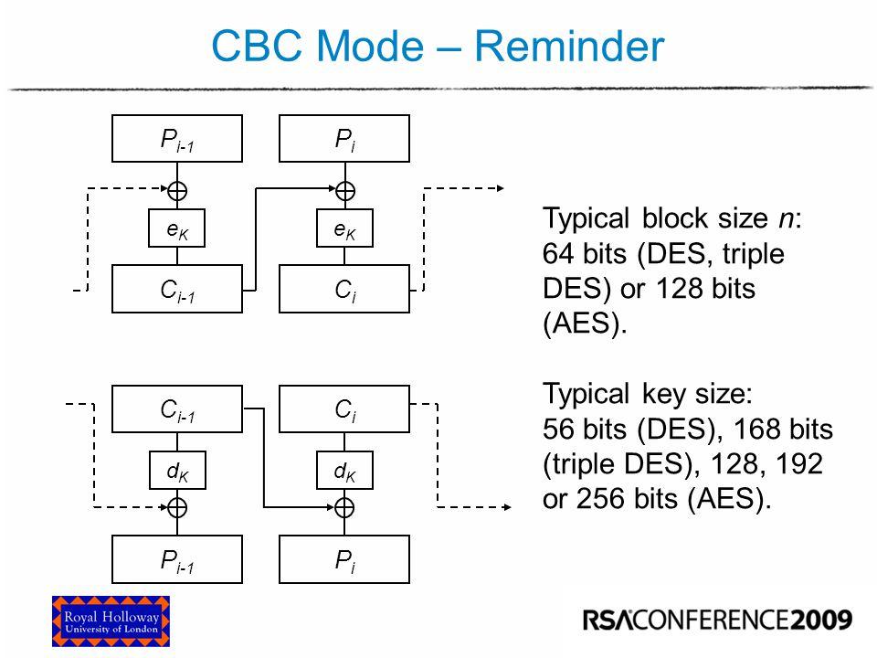 CBC Mode – Reminder C i-1 CiCi P i-1 PiPi dKdK dKdK PiPi C i-1 CiCi eKeK eKeK Typical block size n: 64 bits (DES, triple DES) or 128 bits (AES). Typic