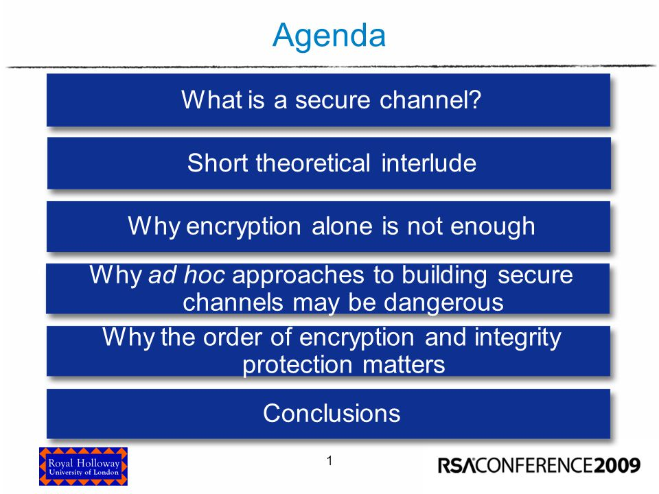 1 Agenda What is a secure channel? Why ad hoc approaches to building secure channels may be dangerous Why the order of encryption and integrity protec