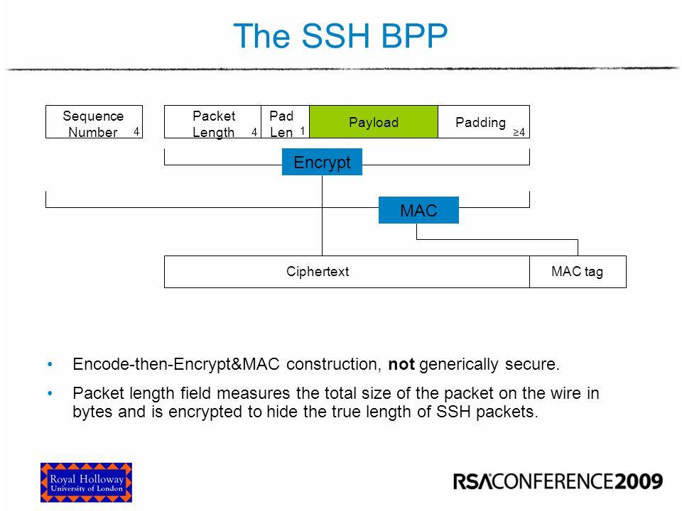 CINS/F1-01 The SSH BPP Encrypt MAC Payload CiphertextMAC tag Sequence Number 4 Packet Length 4 Pad Len 1 Padding ≥4 Encode-then-Encrypt&MAC constructi