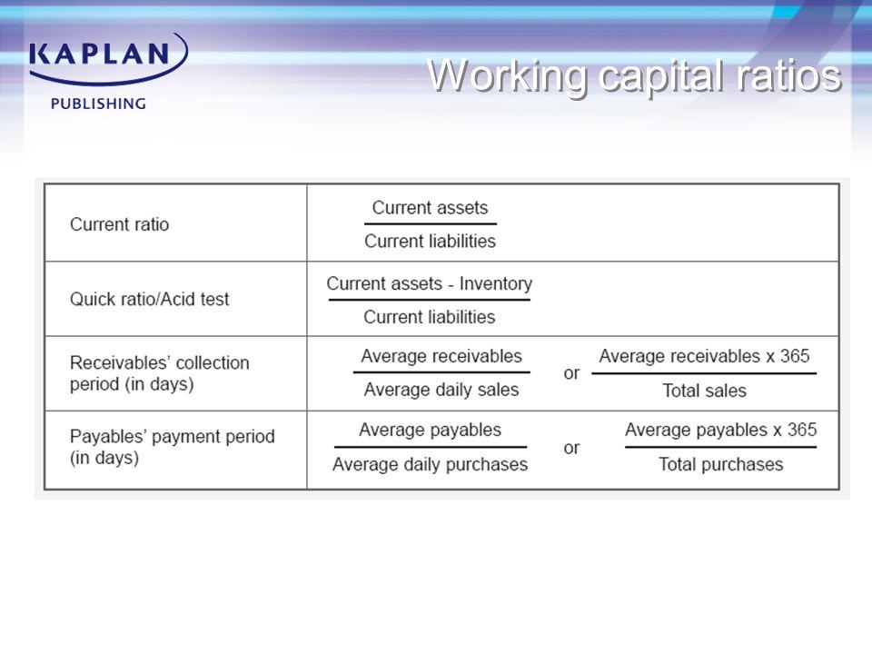 Working capital ratios
