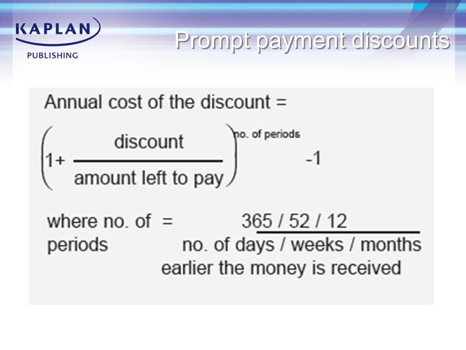 Prompt payment discounts